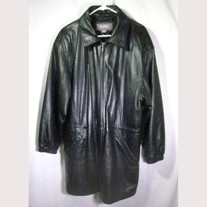 Wilsons Black Leather Coat Large 100% Leather